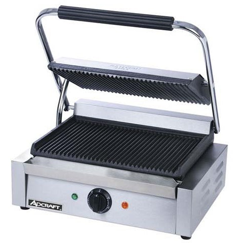 Commercial Kitchen Countertop Single Plus Ribbed Panini Sandwich Grill - Commercial Kitchen USA