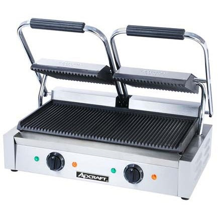 Commercial Kitchen Countertop Double Ribbed Panini Sandwich Grill