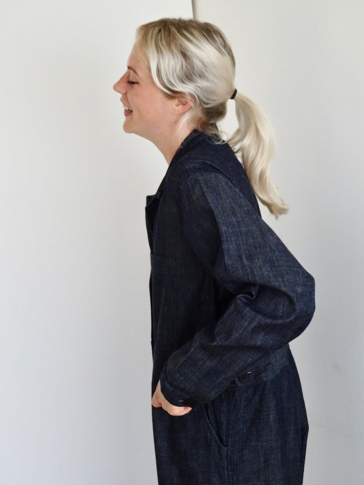 side view of pajotten UK sustainable womenswear soft denim overalls