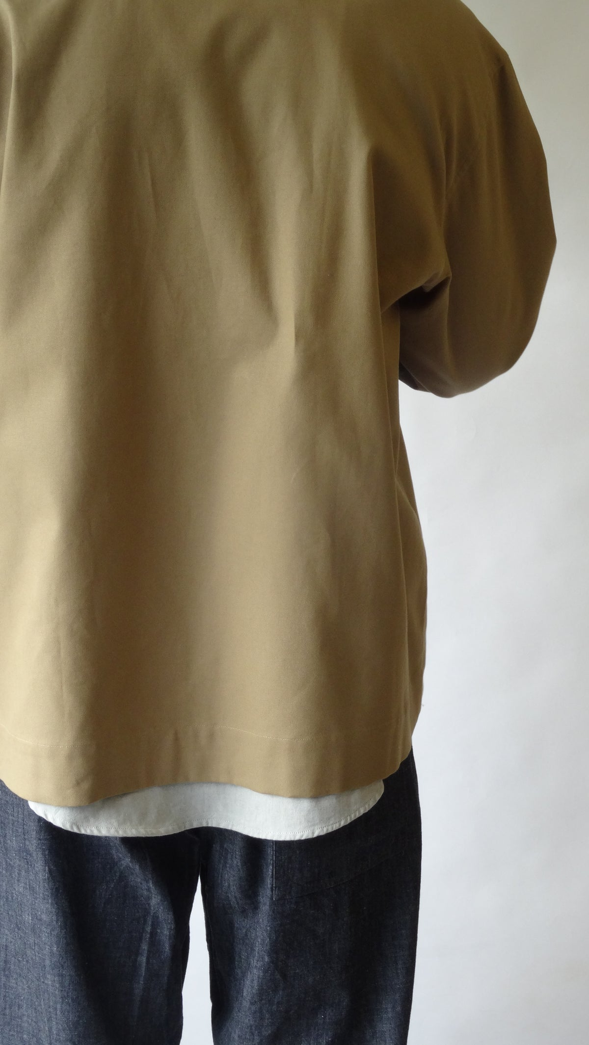menswear loose fitting workers jacket in beige cotton canvas