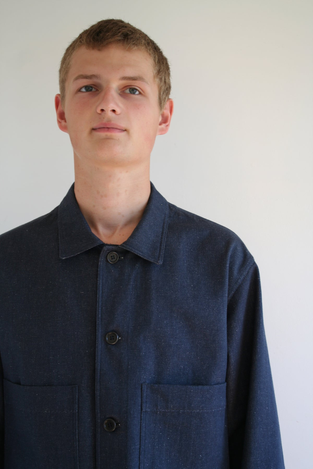 menswear workers jacket in recycled indigo denim pajotten