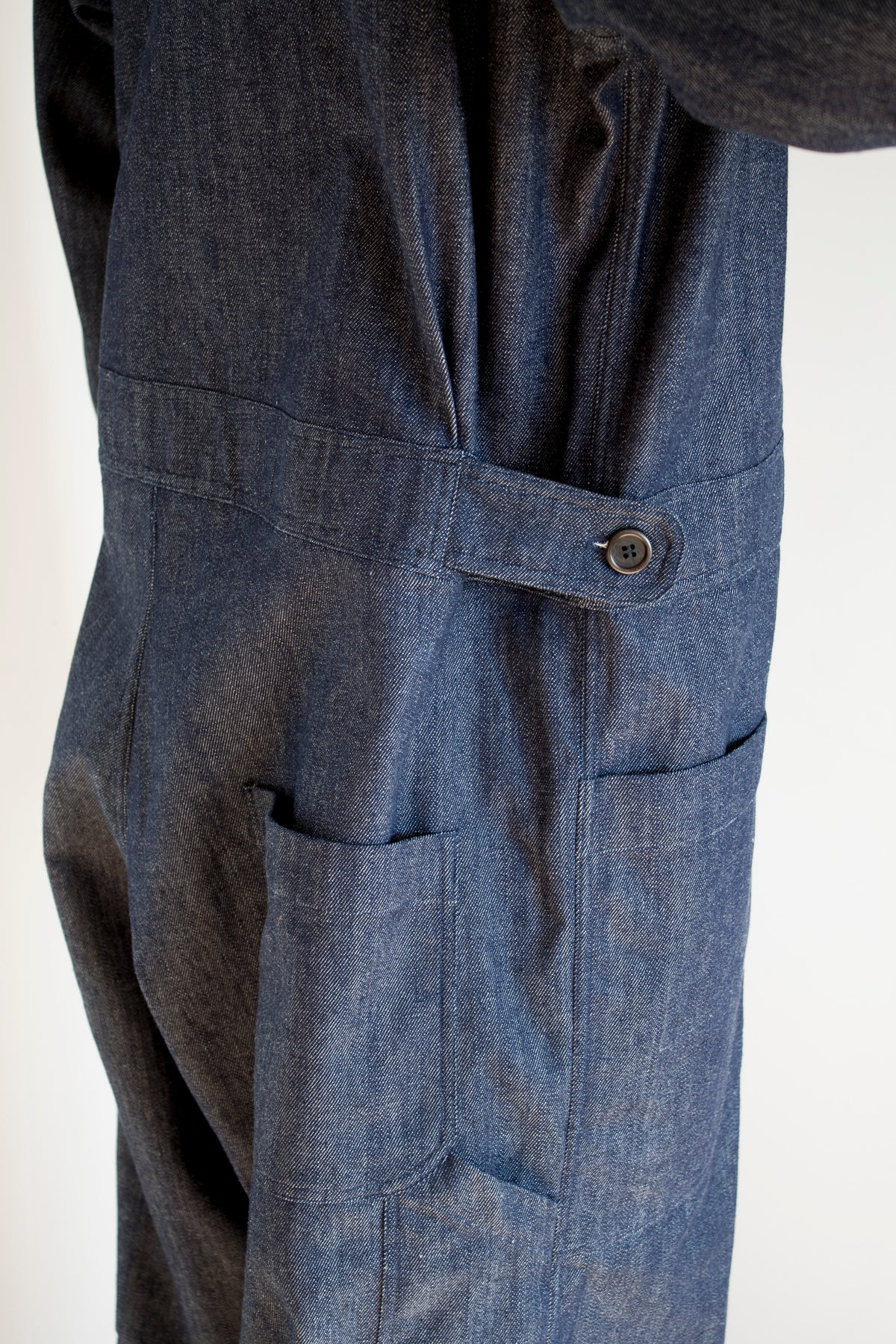side view of pajotten sustainable menswear denim overalls