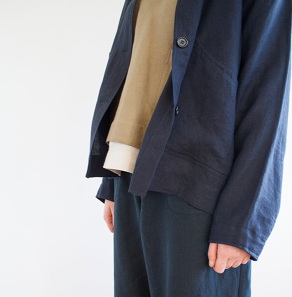 product image womenswear scooped pocket navy linen  jacket