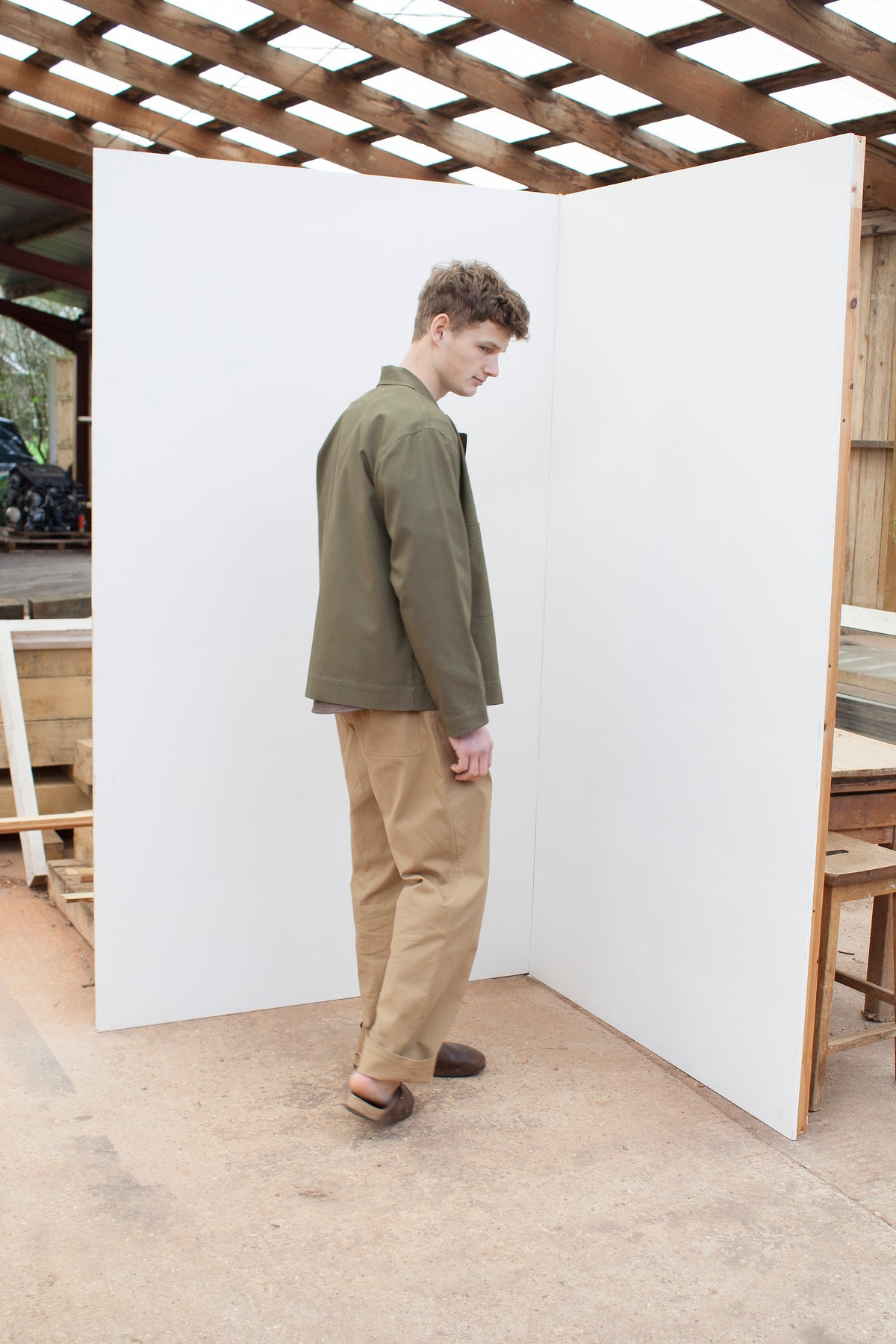 menswear loose fitting workers jacket in sage green cotton canvas
