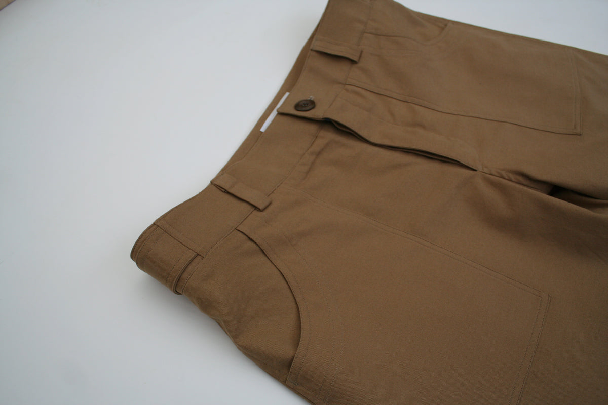 close up view of a pair of sustainably made British menswear chore trousers