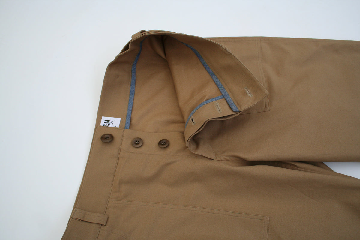 close up image of the fly on a pair of menswear chore trousers made in tan brushed cotton canvas