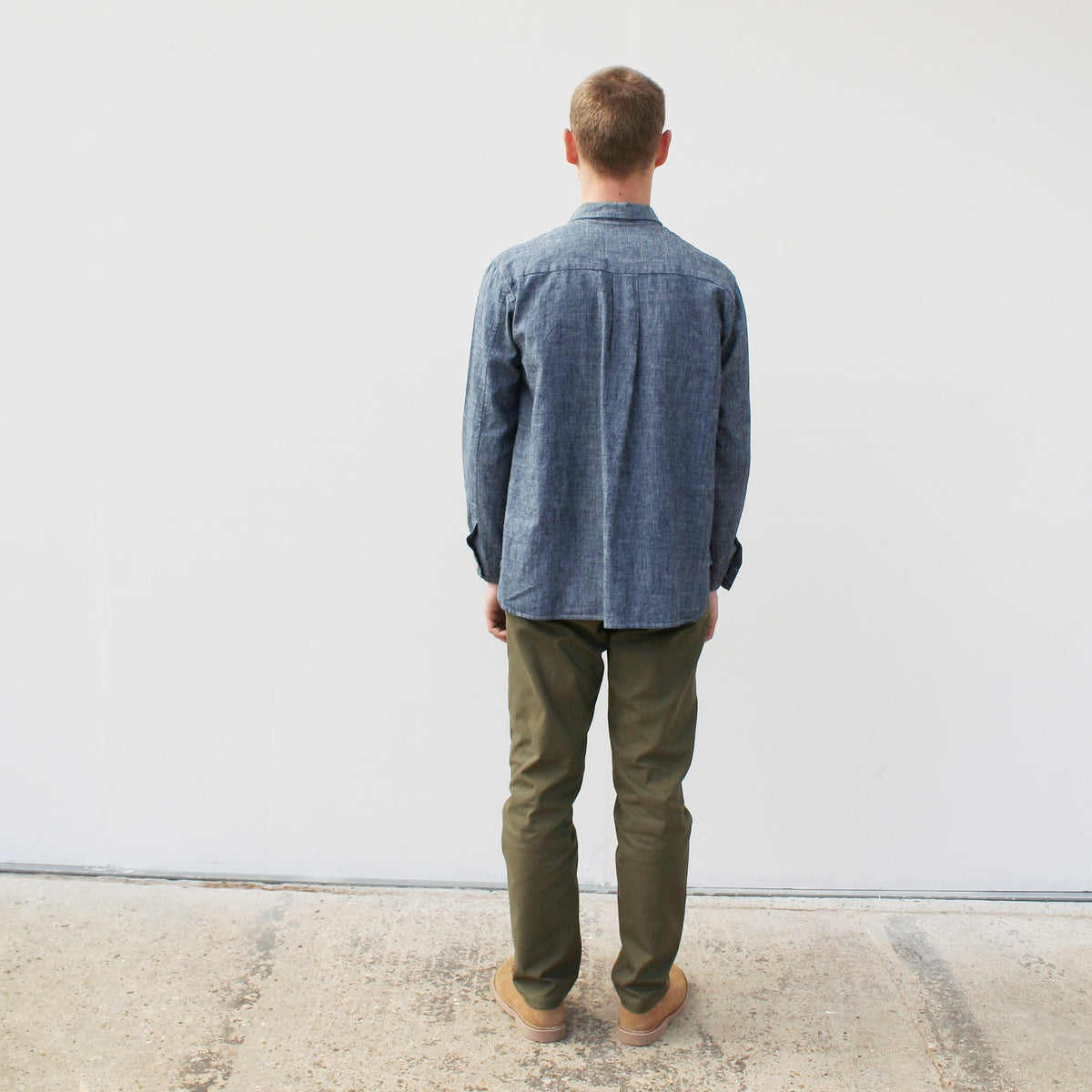 a long sleeved mens shirt in a blue and white cotton linen mix cloth