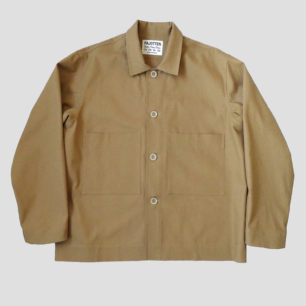 menswear workers jacket in tan brushed cotton canvas