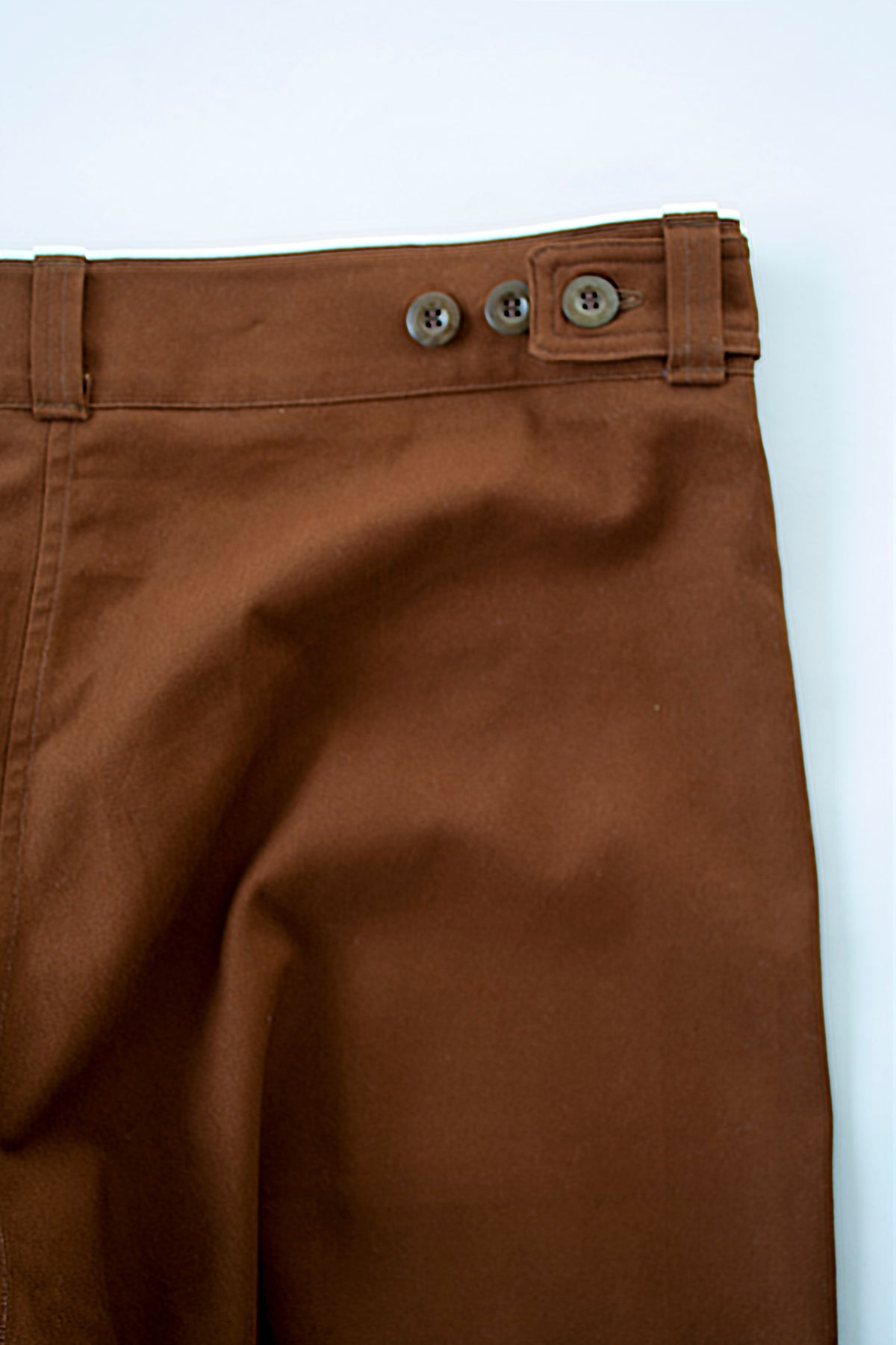 back detail of rust menswear chore trousers