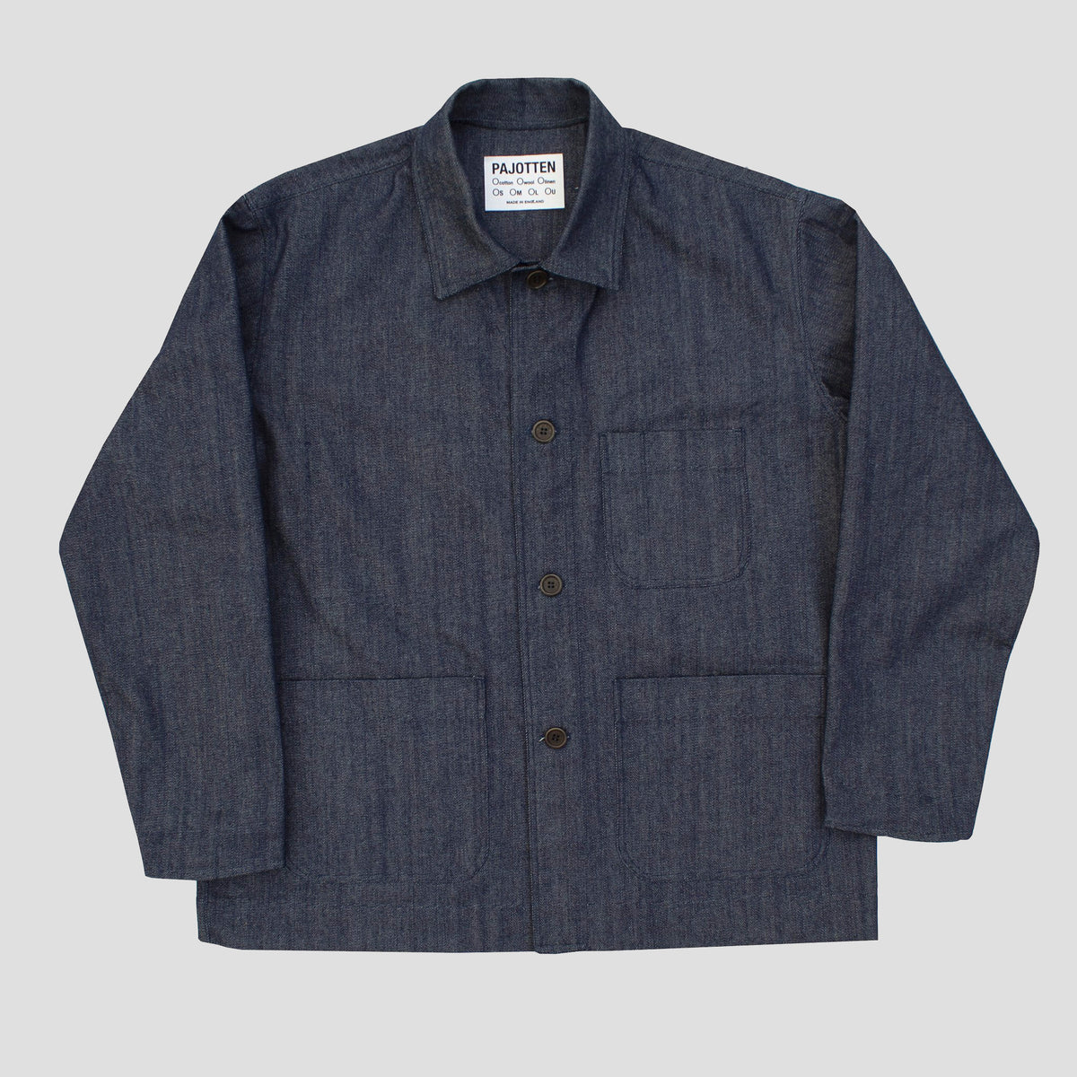 front view of a mens DENIM traditional chore jacket with three outer pockets made sustainably in the UK