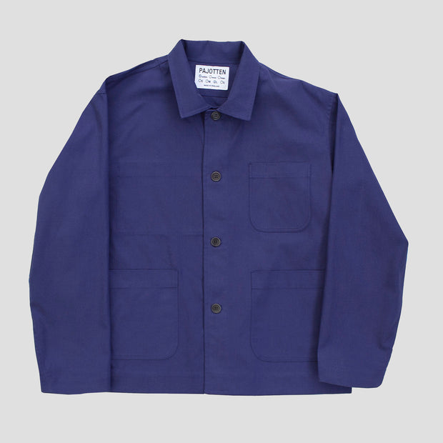 front view of a mens indigo traditional chore jacket with three outer pockets made sustainably in the UK