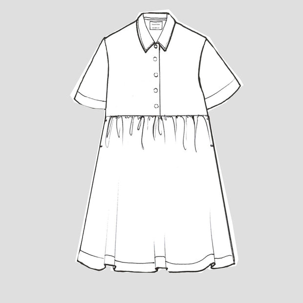 a long green linen dress with gathered front and bak