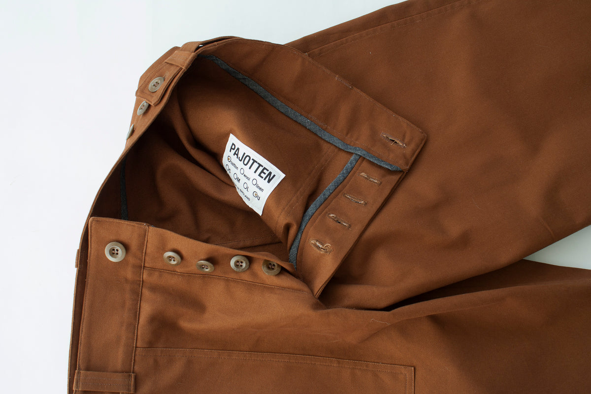 mens uk made brown chore trousers button fly detail