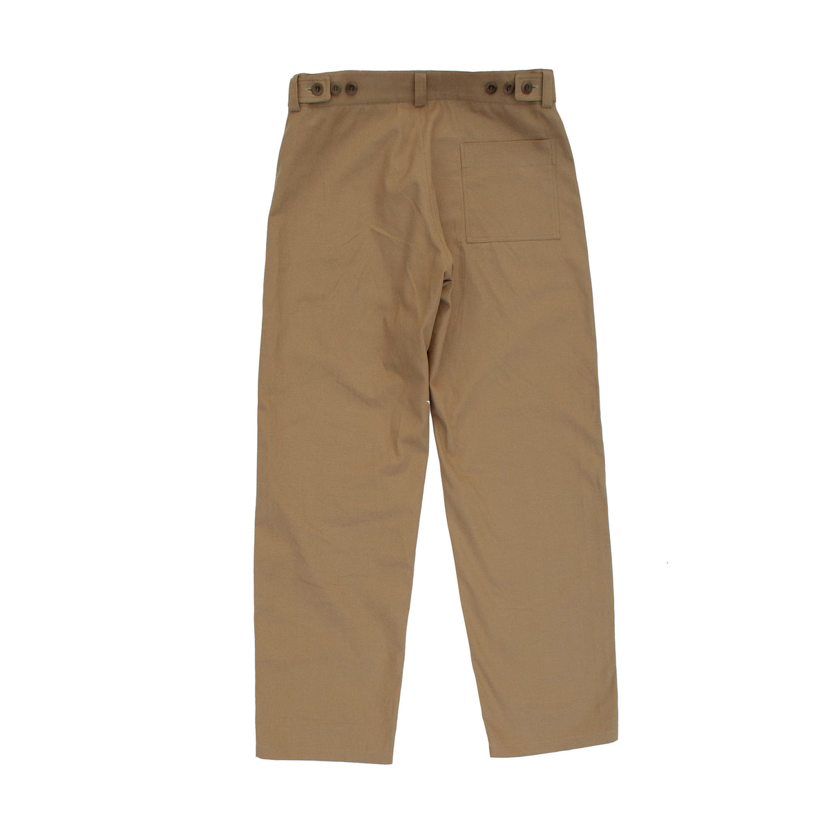 pajotten menswear back view of cotton canvas chore trousers in tan