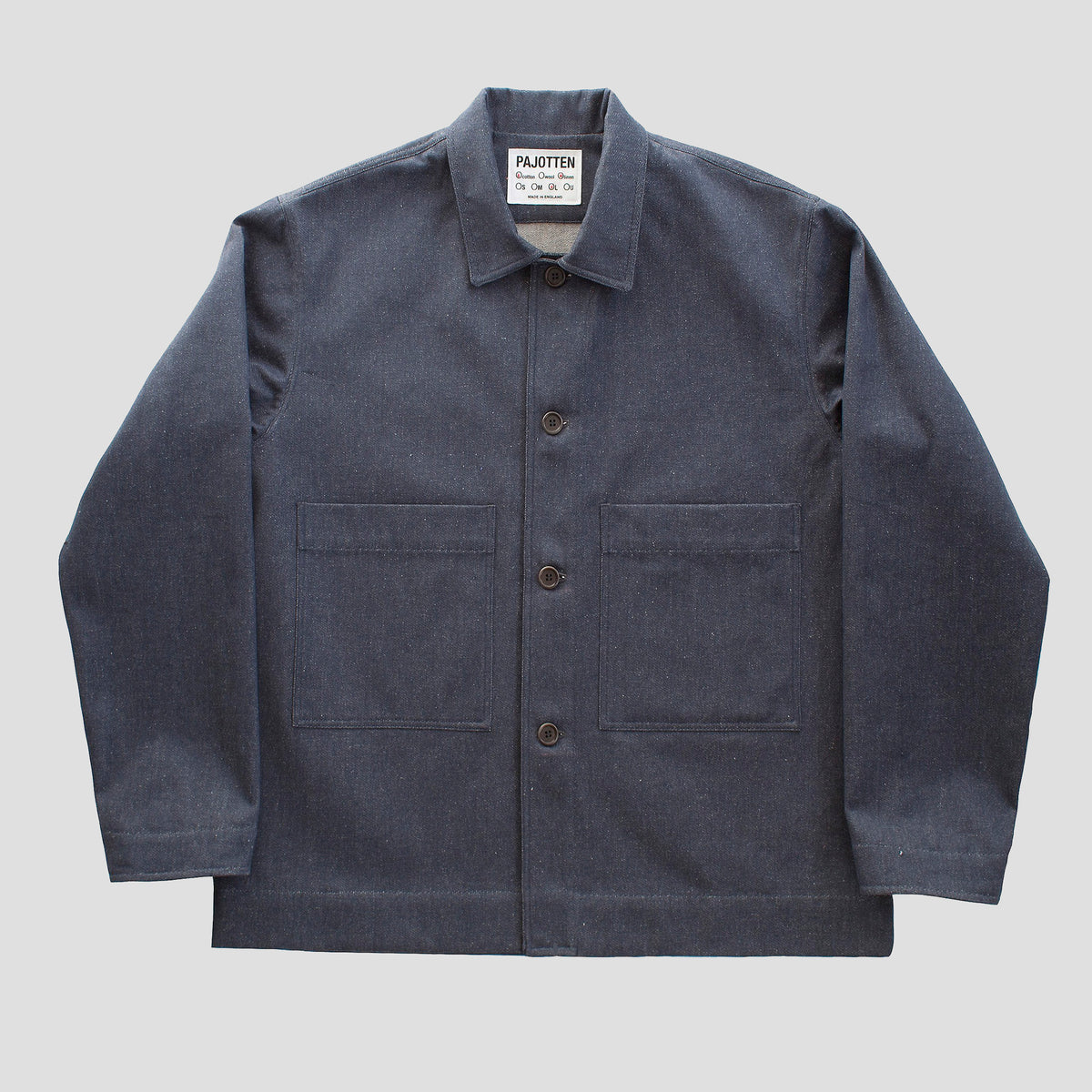 menswear workers jacket in a blue recycled denim cotton/linen mix