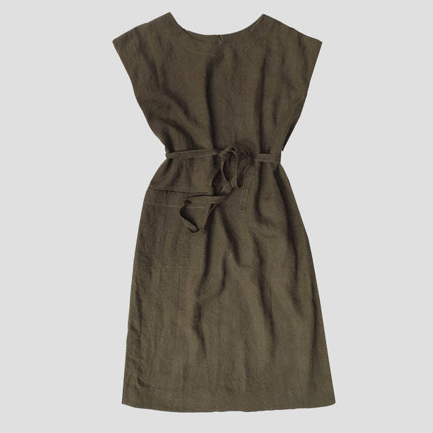 a front view of a simple shift dress with a tied waist
