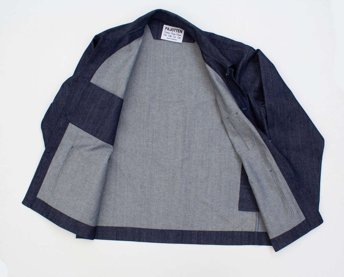 inside view of a denim traditional chore jacket