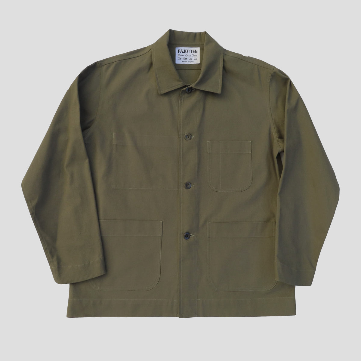 front view of a mens sage green traditional chore jacket with three outer pockets made sustainably in the UK