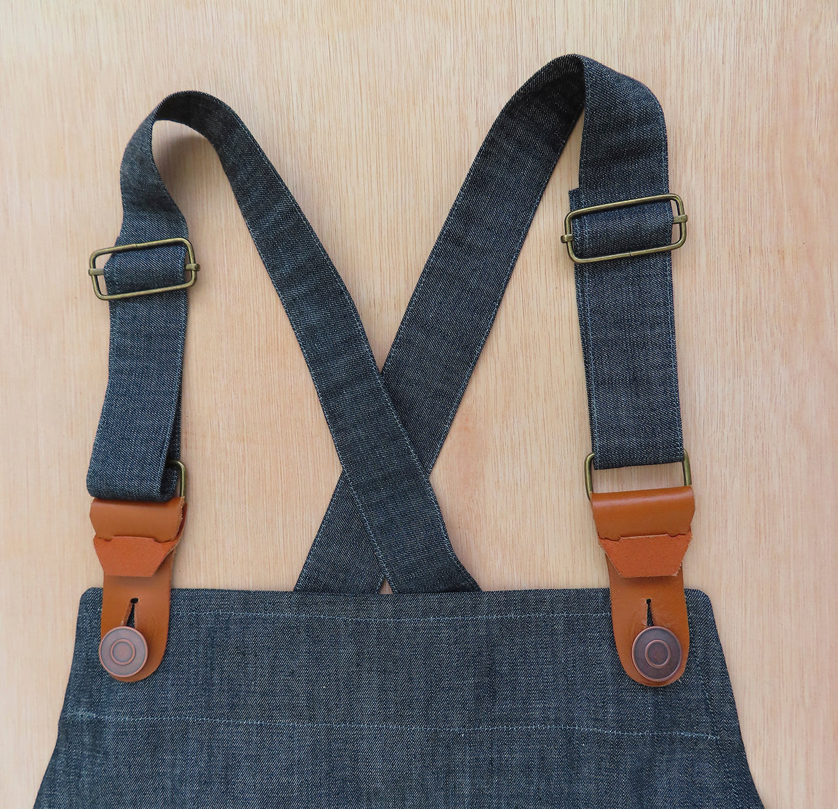 detail of denim apron
