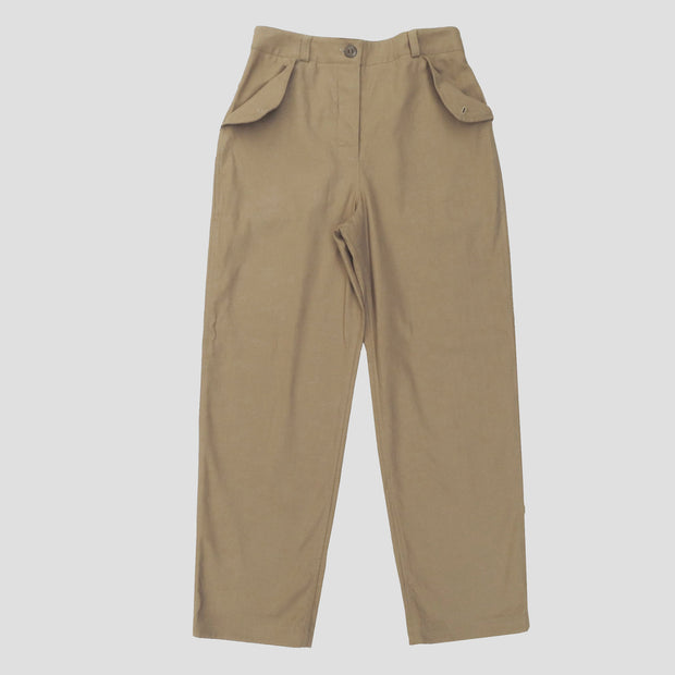 a front view of the wide cut land girl trousers in tan canvas