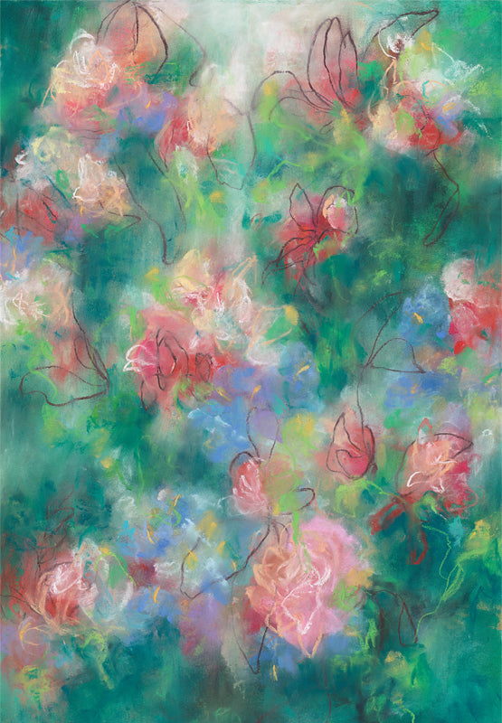Modern abstract floral artwork by contemporary artist Sara Richardson