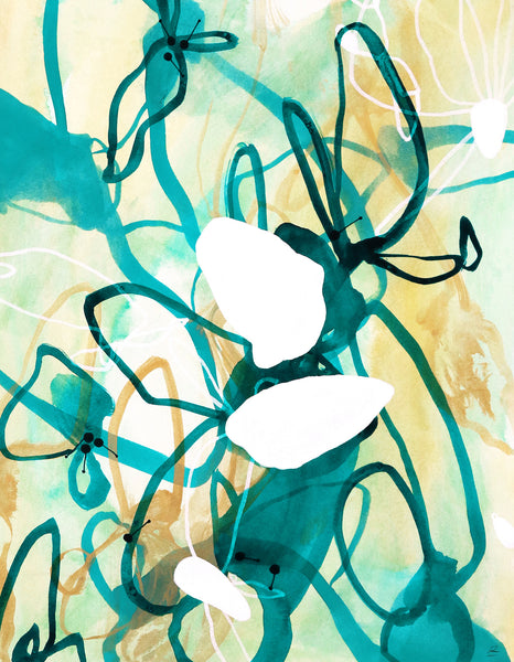 Contemporary abstract watercolor artwork by artist Sara Richardson