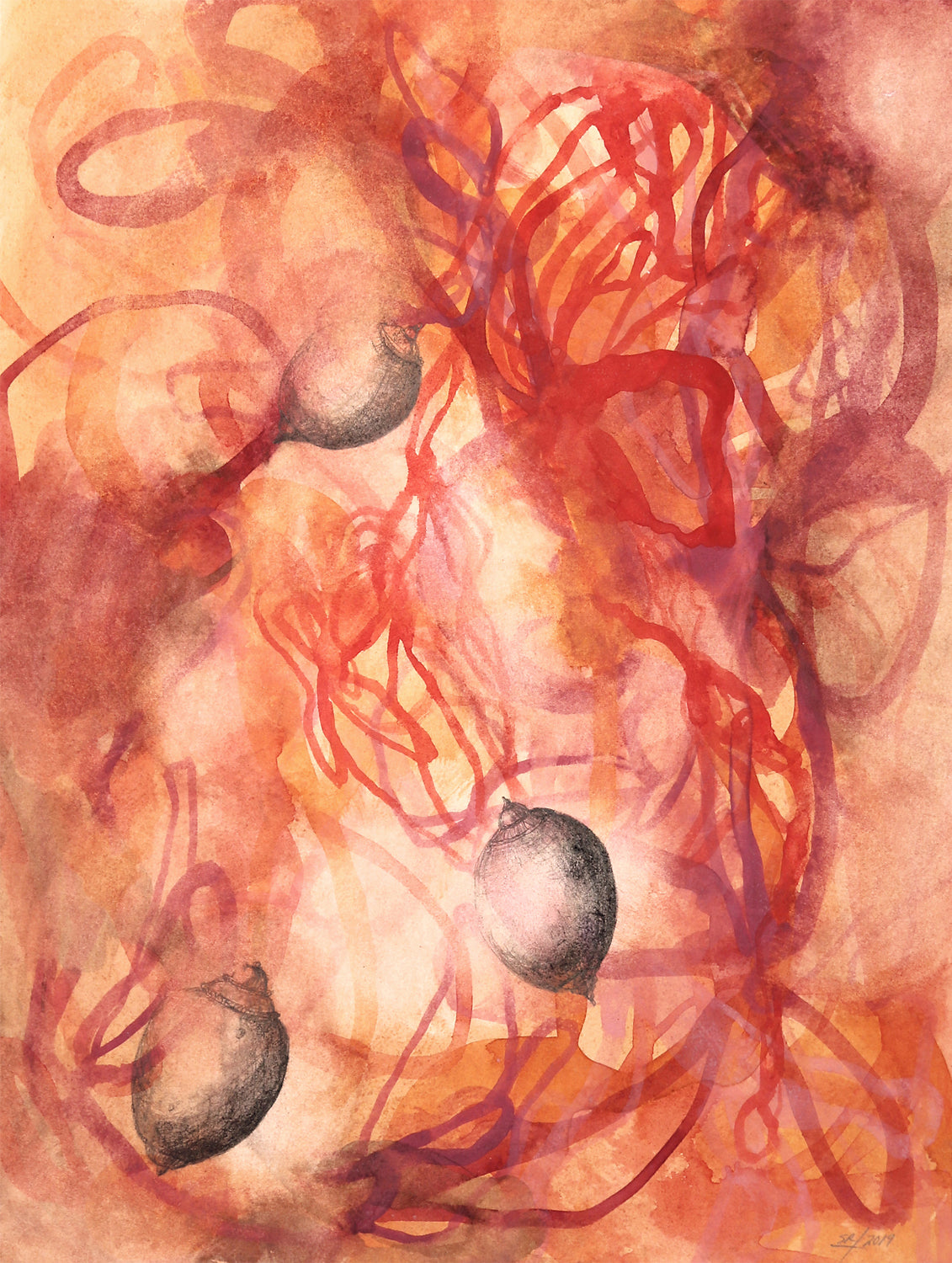 Abstract contemporary watercolor by artist Sara Richardson organic
