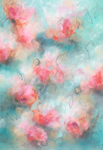 Contemporary floral abstract artwork by artist Sara Richardson