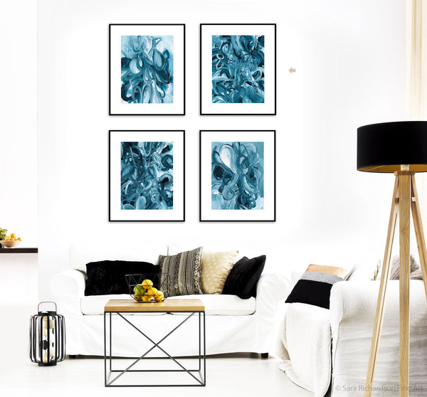Modern abstract blue paintings and interior decor by fine artist Sara Richardson