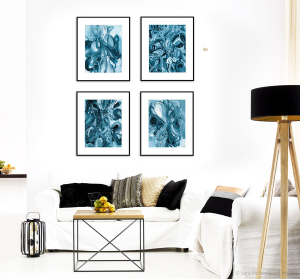 Contemporary abstract blue paintings and interior decor by fine artist Sara Richardson