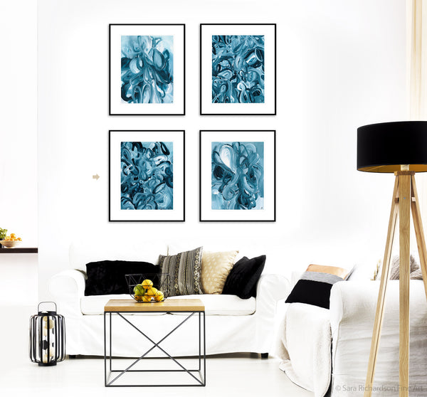 Nature inspired blue and white original artwork and paintings by artist Sara Richardson