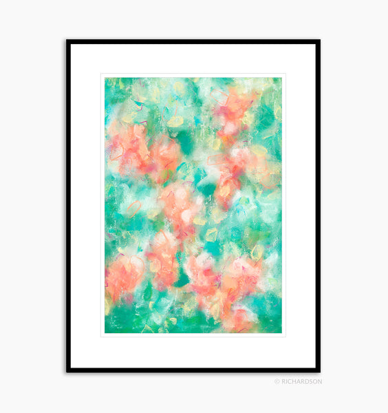 Tropical bright abstract organic nature art by contemporary artist Sara Richardson