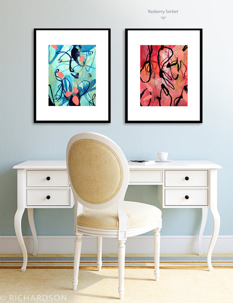 Abstract mixed media watercolor modern art by Sara Richardson