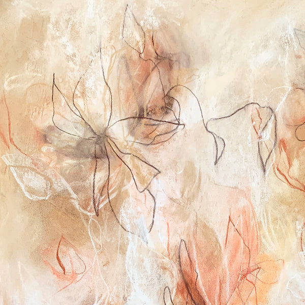 Abstract floral drawing by contemporary artist Sara Richardson