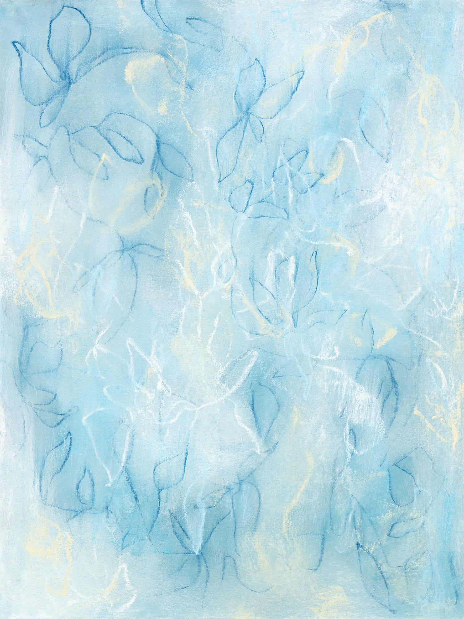 Blue abstract flora and fauna drawing by artist Sara Richardson
