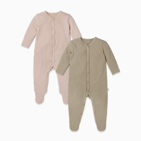 Ribbed Front Opening Sleepsuit - 2 Pack