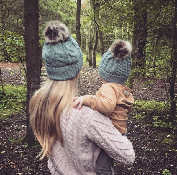 Matching Mama & Baby Hats - Plaited Style -Grey