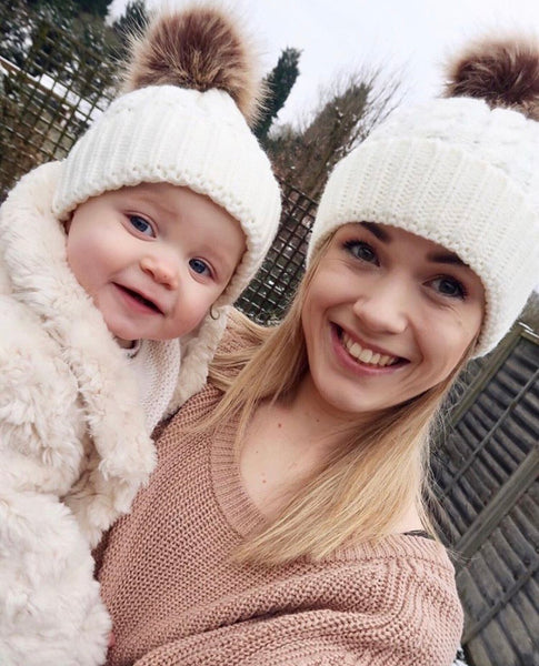Matching Mama & Baby Hats - Plaited Style -Cream