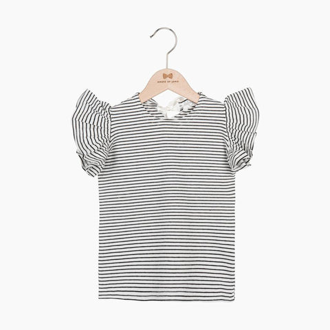 Ruffled Tee - Little Stripes