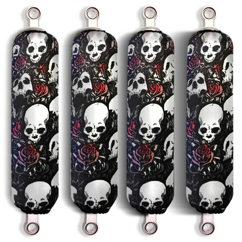 Black Skull Shock Covers Kawasaki Racing Brute Force 650 750 4x4 (Set of 4) NEW