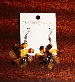 Brown Faux Turtle Tiare Earrings