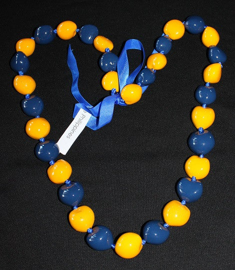 Dark Blue and Yellow Kukui Lei