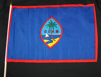 Guam Flag w/ Wooden Stick 12x18 in