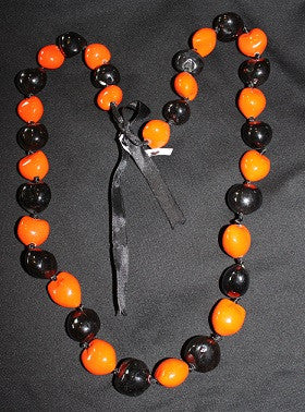 Black and Orange Kukui Lei