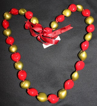 Red and Gold Kukui Lei