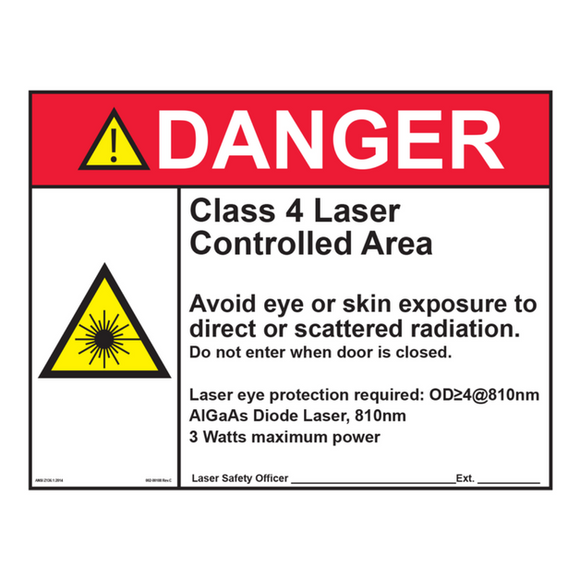 Pioneer Elite Laser Safety Sign