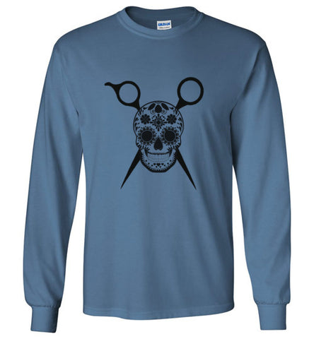 Sugar Skull and Scissors Long Sleeve