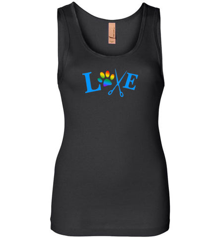 LOVE with Rainbow Paw Print Women's Jersey Tank