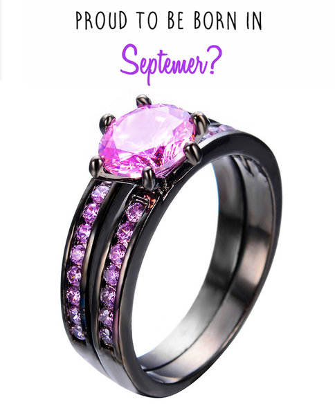 Black Gold Filled Double Pink Sapphire Ring