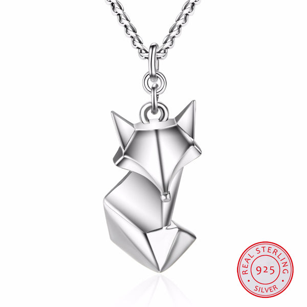 Sterling Silver Fox Origami Necklace